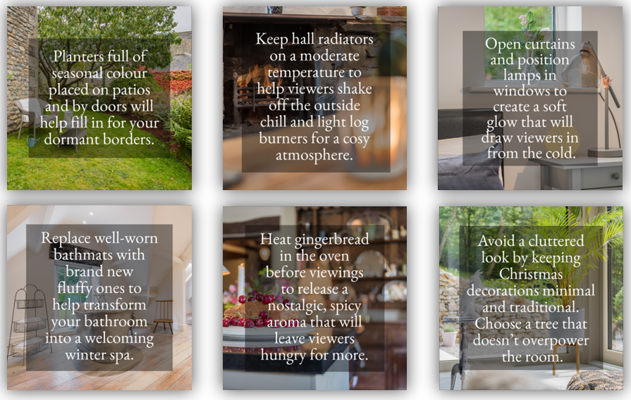a selection of graphics, with actionable text overlaying interior images