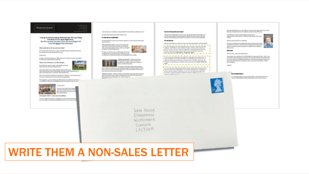 Screenshots of a letter, with an envelope placed overlaying the bottom part of the letter