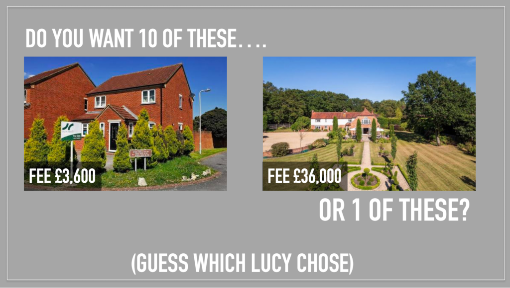 2 homes on offer, one fee worth £3,600, the other fee worth £36,000