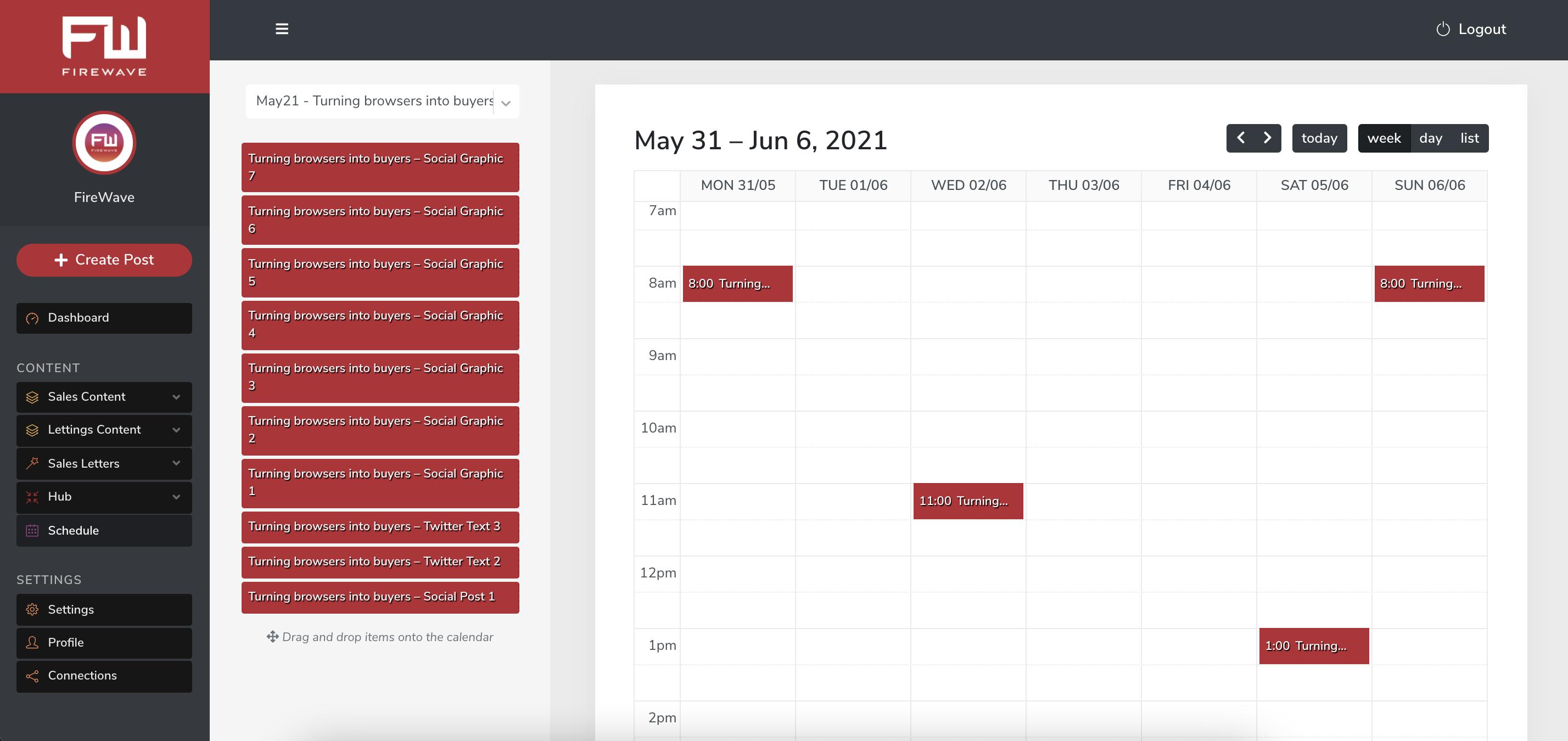 FW platform - schedule