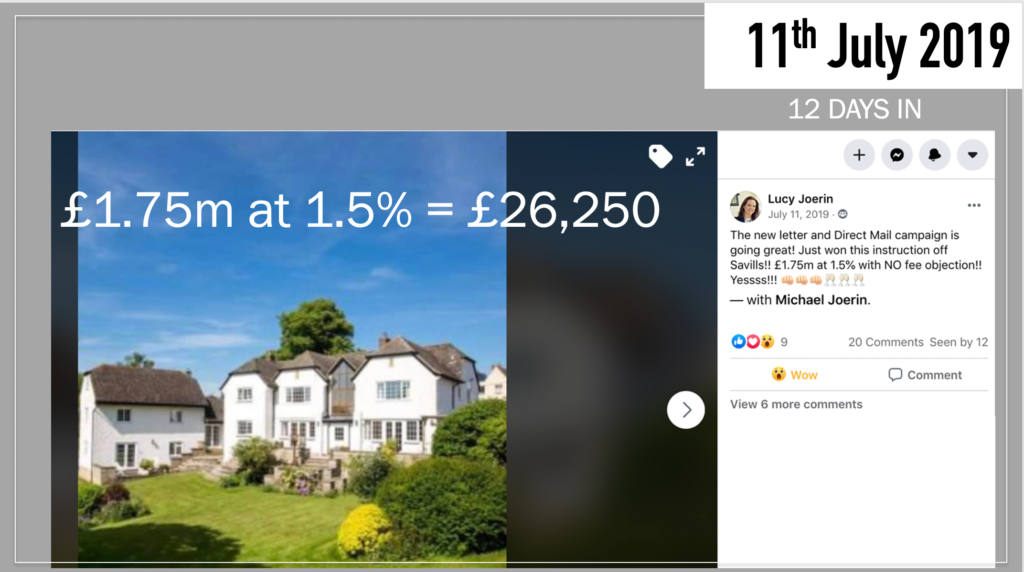 A Facebook post from Lucy Joerin explaining how she has just own an instruction from Savills, worth £1.75 million, at 1.5%