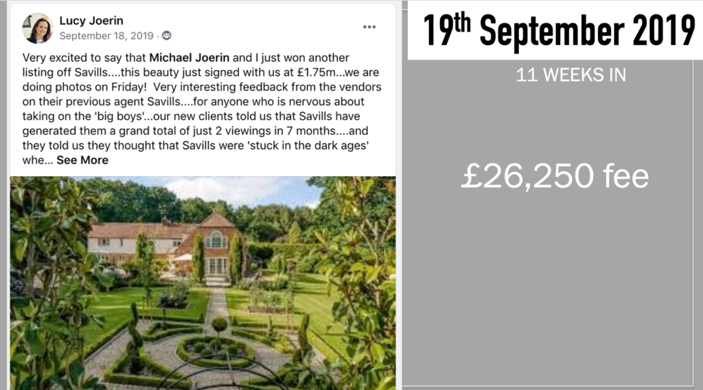 A Facebook post from Lucy Joerin stating another win from Savills, for £1.75 million
